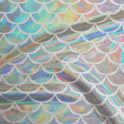 bespoke bikini material LN1002 silver mermaid