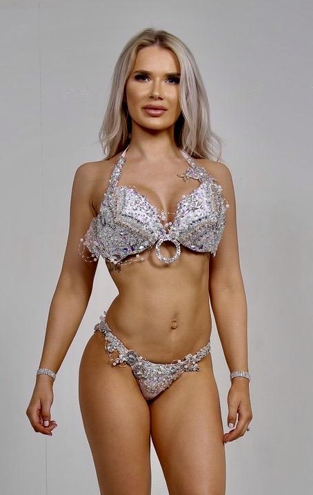 white and silver bikini